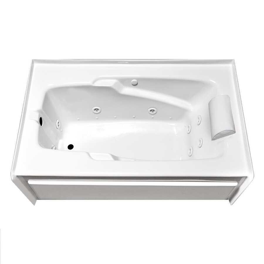 Laurel Mountain Mercer VIII 66-in White Acrylic Alcove Whirlpool Tub and Air Bath with Left-Hand Drain