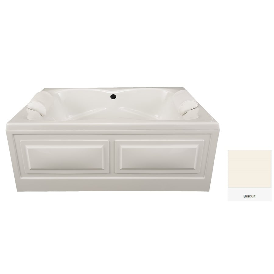 Laurel Mountain Seneca I 60-in Biscuit Acrylic Alcove Bathtub with Center Drain