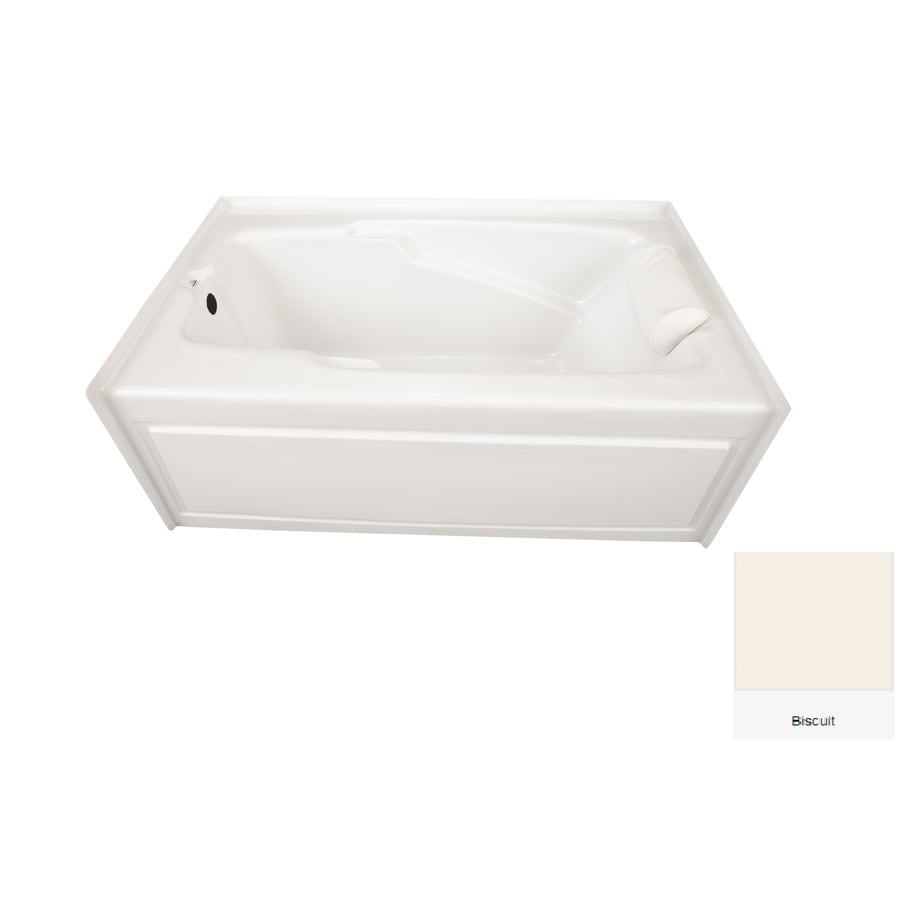 Laurel Mountain Mercer VII 66-in Biscuit Acrylic Alcove Bathtub with Left-Hand Drain