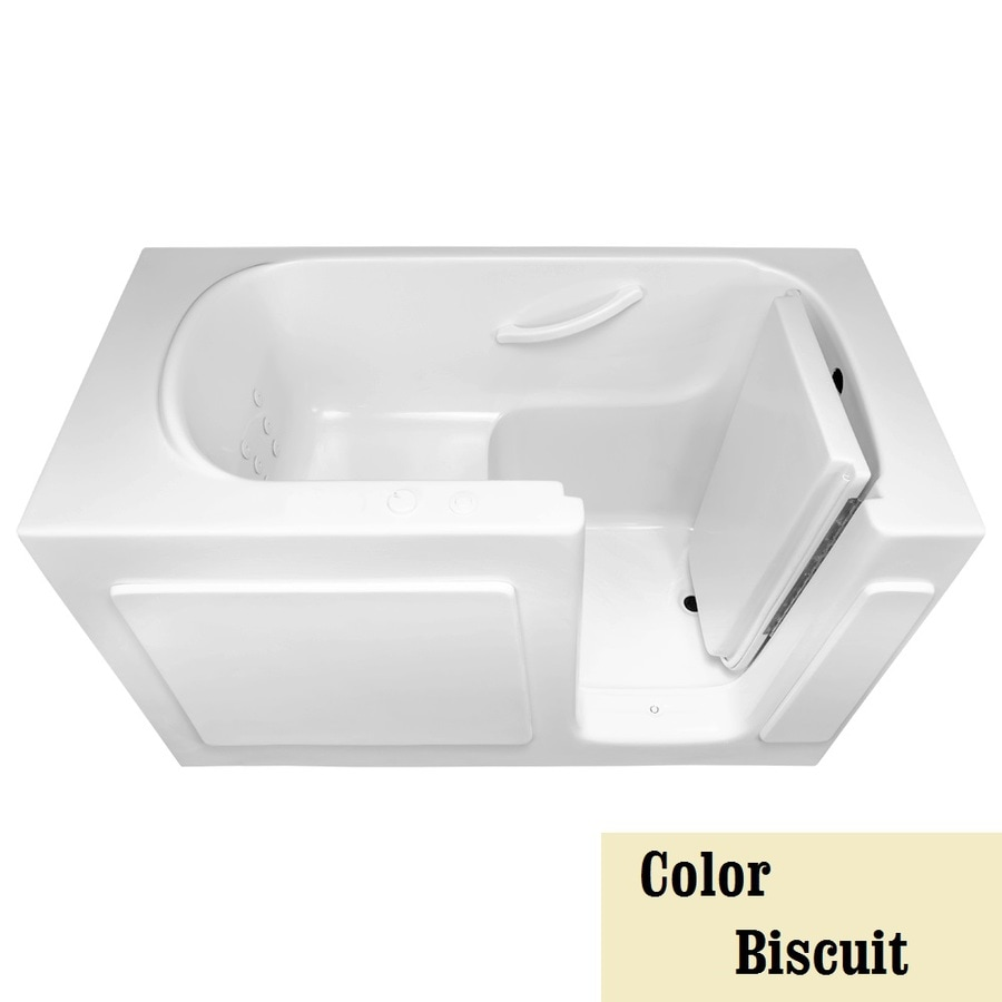 Laurel Mountain Westmont 60-in Biscuit Acrylic Walk-In Whirlpool Tub with Right-Hand Drain