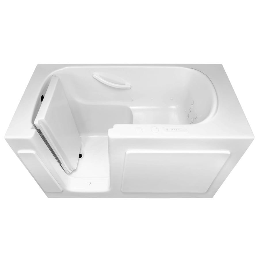 Laurel Mountain Westmont 54-in White Gelcoat/Fiberglass Walk-In Air Bath with Left-Hand Drain