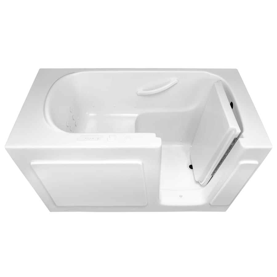 Laurel Mountain Westmont Alcove or Corner 54-in White Acrylic Walk-In Whirlpool Tub And Air Bath with Right-Hand Drain