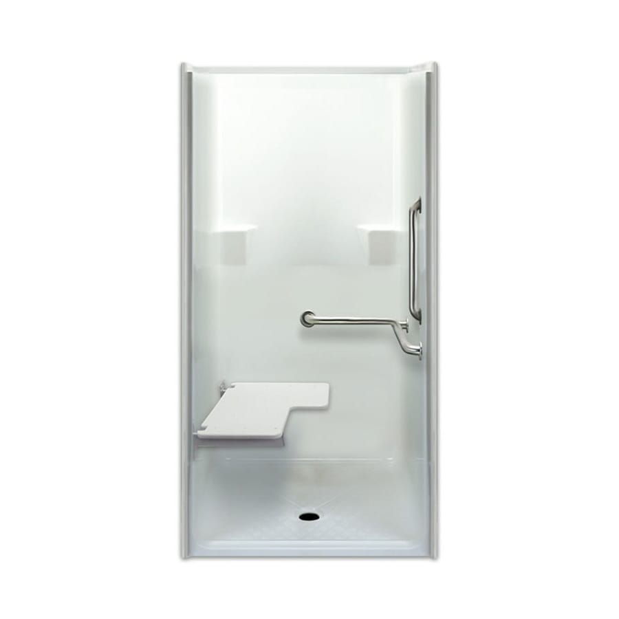 Laurel Mountain Parson Low Zero Threshold Barrier Free White Gelcoat and Fiberglass One-Piece Shower (Common: 40-in x 40-in; Actual: 76.625-in x 39.5-in x 39-in)