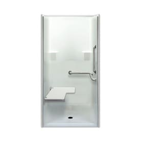 Laurel Mountain Parson Low Zero Threshold  Barrier Free White Acrylic One Piece Shower Shop Showers at Lowes com