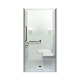 laurel mountain parson low zero threshold barrier free white acrylic onepiece shower - Shower Stalls