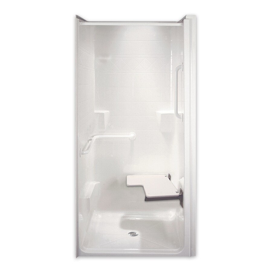 Laurel Mountain Norris Low Zero Threshold - Barrier Free White Acrylic One-Piece Shower (Common: 40-in x 40-in; Actual: 82.125-in x 39.5-in x 40-in)