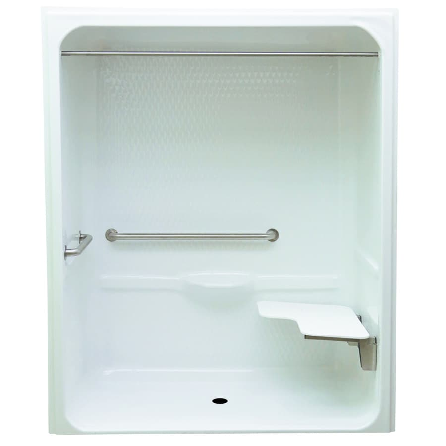 Laurel Mountain Toone Low Zero Threshold Barrier Free White Acrylic One Piece Shower