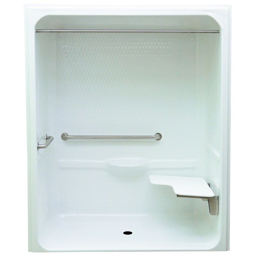 laurel mountain toone low zero threshold barrier free white acrylic onepiece shower