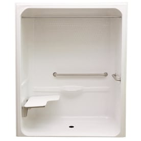 Laurel Mountain Toone Low Zero Threshold  Barrier Free White Acrylic One Piece Shower Shop Showers at Lowes com
