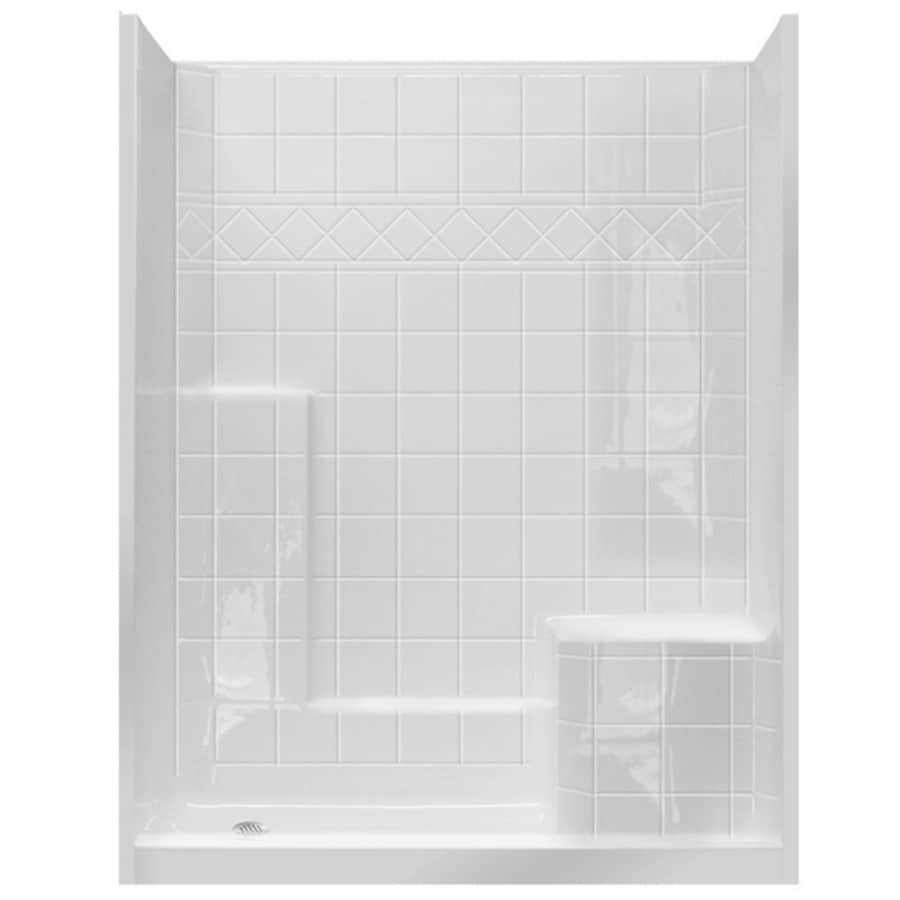 Laurel Mountain Atwood Low Threshold - Barrier Free White Acrylic Wall and Floor 3-Piece Alcove Shower Kit (Common: 32-in x 60-in; Actual: 77-in x 33-in x 60-in)