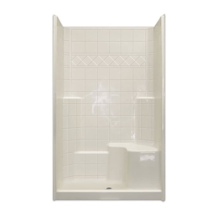 Laurel Mountain Benton Low Threshold - Barrier Free White Acrylic Wall and Floor 3-Piece Alcove Shower Kit (Common: 36-in x 48-in; Actual: 79.5-in x 37-in x 48-in)
