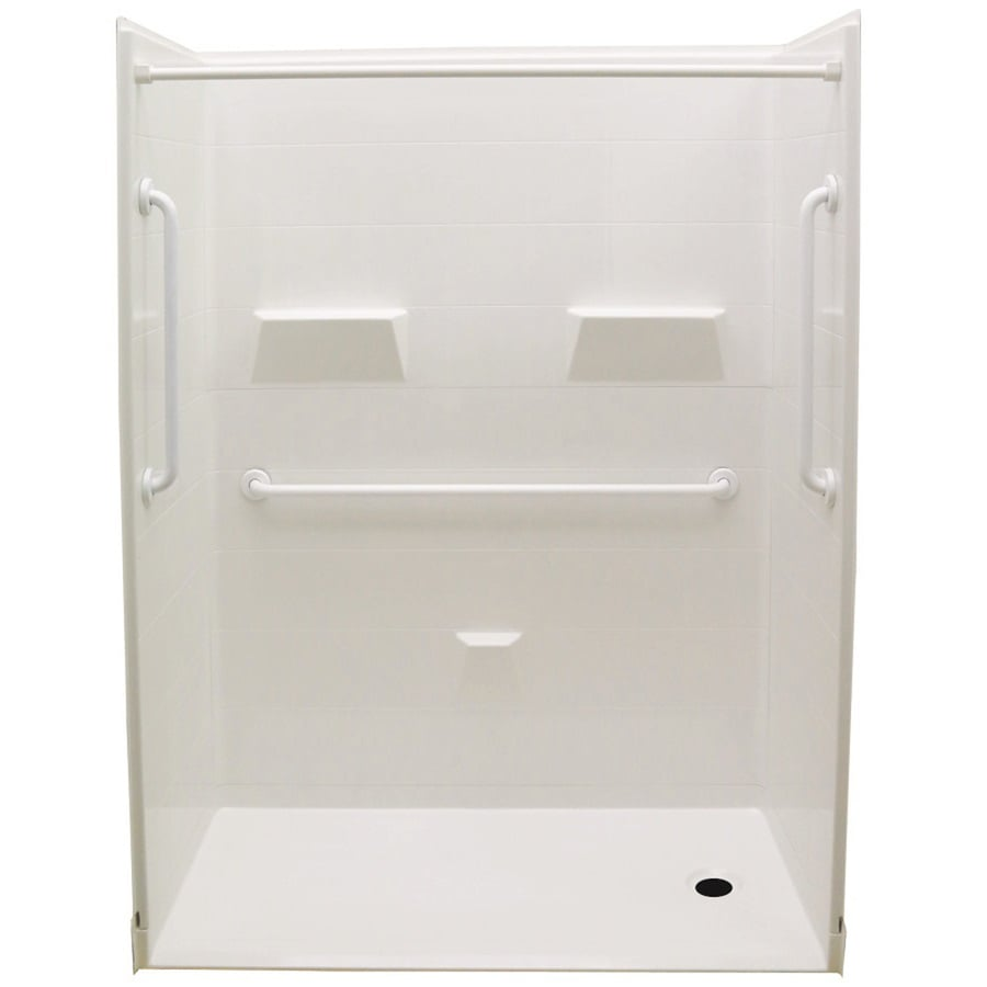 Laurel Mountain Cowan Low Zero Threshold- Barrier Free White Gelcoat and Fiberglass Wall and Floor 5-Piece Alcove Shower Kit (Common: 32-in x 60-in; Actual: 78-in x 31-in x 60-in)