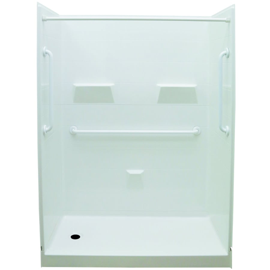 Laurel Mountain Jackson Low Threshold - Barrier Free White Gelcoat/Fiberglass Wall and Floor 5-Piece Alcove Shower Kit (Common: 32-in x 60-in; Actual: 79.5-in x 31-in x 60-in)