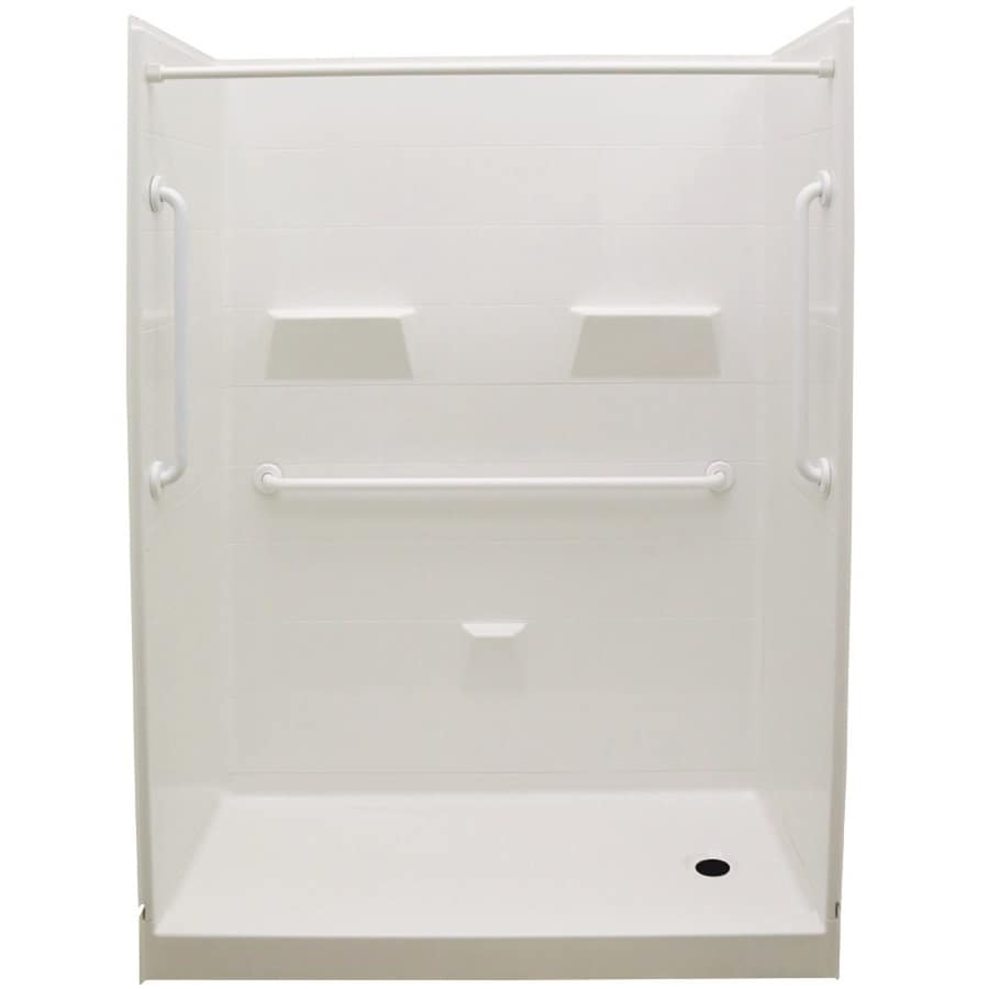 Laurel Mountain Jackson Low Threshold - Barrier Free White Acrylic Wall and Floor 5-Piece Alcove Shower Kit (Common: 32-in x 60-in; Actual: 79.5-in x 31-in x 60-in)
