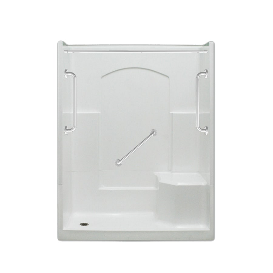 Laurel Mountain Ramer Low Threshold - Barrier Free White Acrylic Wall and Floor 4-Piece Alcove Shower Kit (Common: 32-in x 60-in; Actual: 77.5-in x 32-in x 60-in)