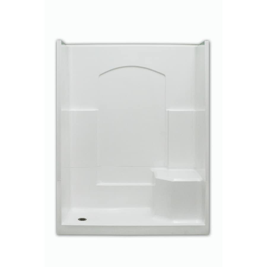Laurel Mountain Slayden Low Threshold - Barrier Free White Acrylic Wall and Floor 4-Piece Alcove Shower Kit (Common: 32-in x 60-in; Actual: 77.5-in x 32-in x 60-in)