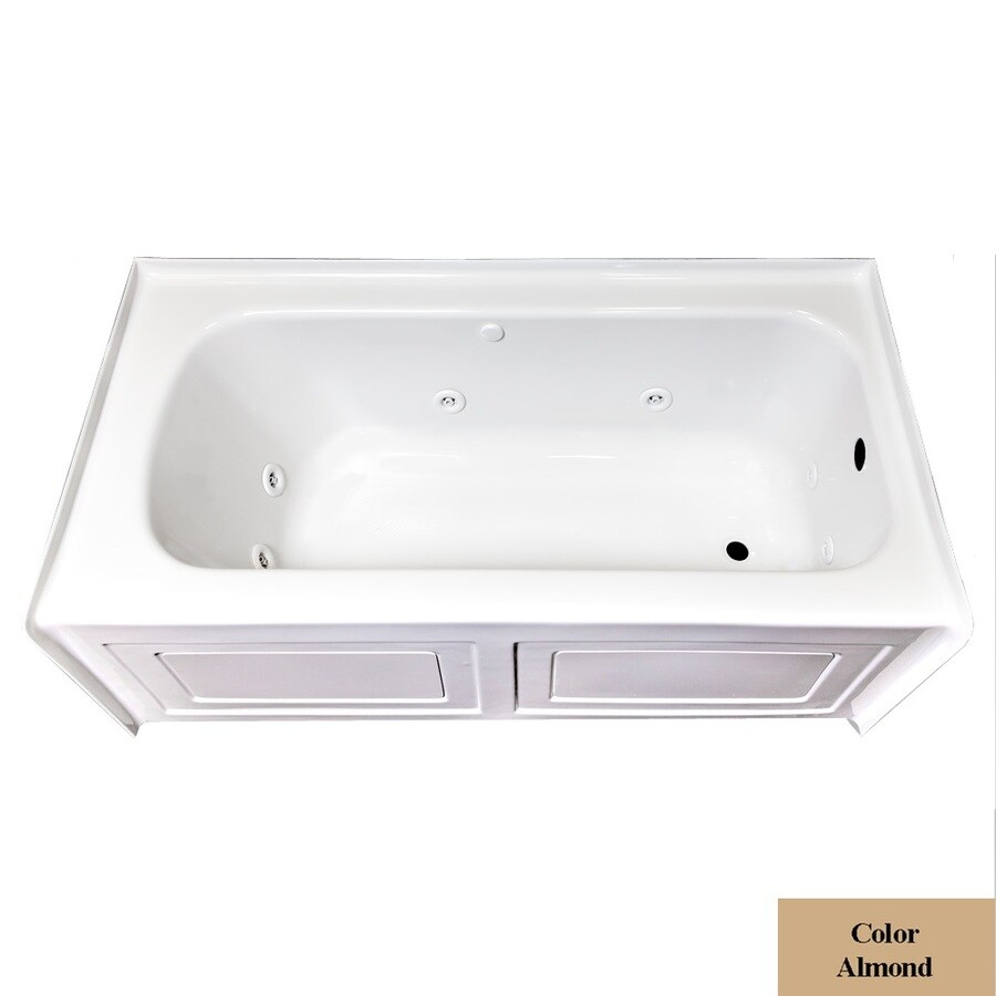 Laurel Mountain Fairhaven VI Almond Acrylic Rectangular Whirlpool Tub (Common: 36-in x 72-in; Actual: 22.5-in x 36-in x 72-in)