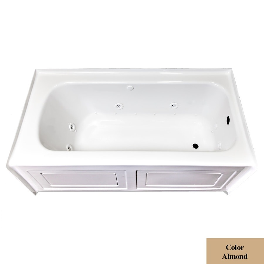 Laurel Mountain Fairhaven VI 72-in L x 36-in W x 22.5-in H Almond Acrylic Rectangular Whirlpool Tub and Air Bath
