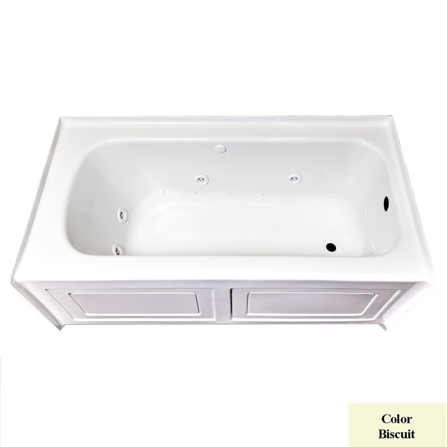 Laurel Mountain Fairhaven VI 72-in L x 36-in W x 22.5-in H Biscuit Acrylic Rectangular Whirlpool Tub and Air Bath