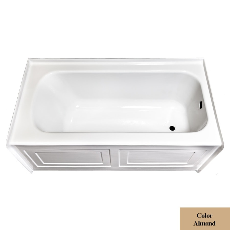 Laurel Mountain Fairhaven Vi Almond Acrylic Rectangular Skirted Bathtub with Right-Hand Drain (Common: 36-in x 72-in; Actual: 22.5-in x 36-in x 72-in