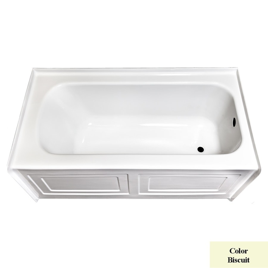 Laurel Mountain Fairhaven Vi Biscuit Acrylic Rectangular Skirted Bathtub with Right-Hand Drain (Common: 36-in x 72-in; Actual: 22.5-in x 36-in x 72-in