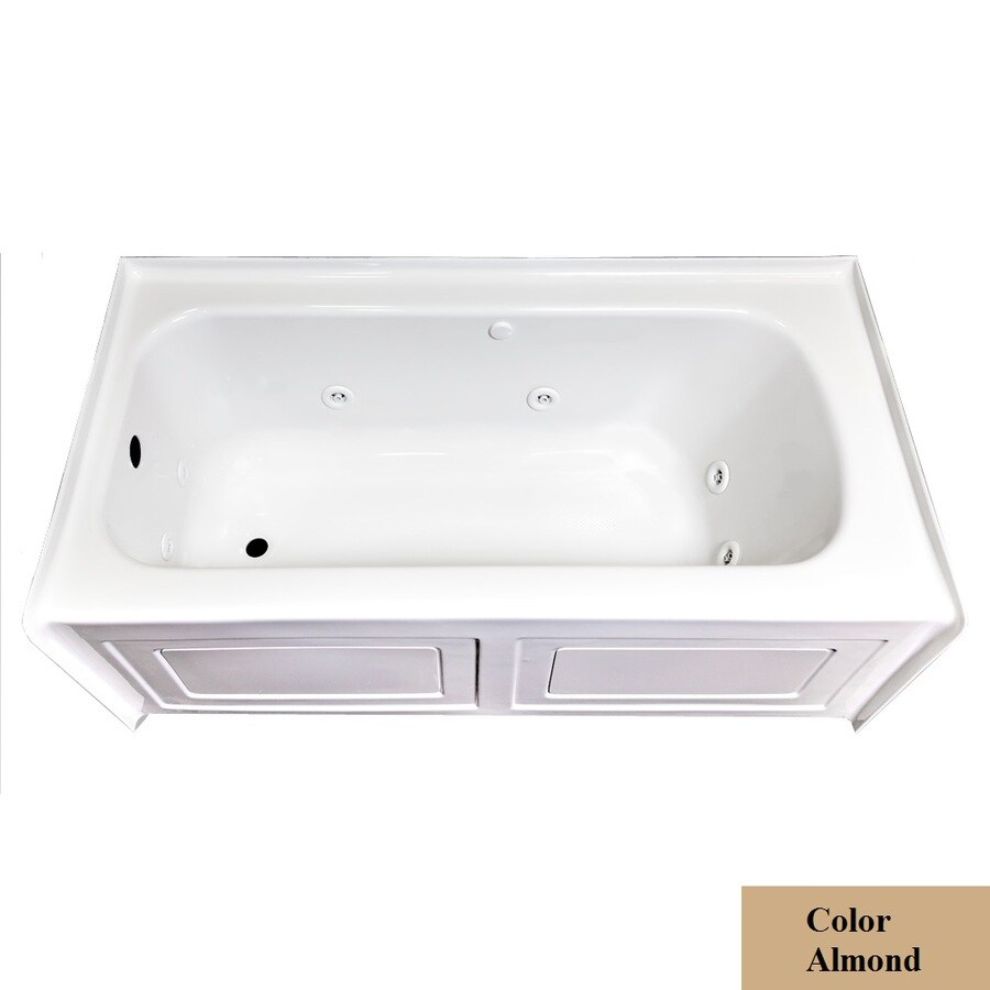 Laurel Mountain Fairhaven Vi 1-Person Almond Acrylic Rectangular Whirlpool Tub (Common: 36-in x 72-in; Actual: 22.5-in x 36-in x 72-in)
