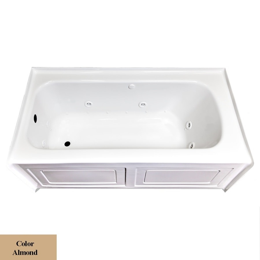 Laurel Mountain Fairhaven Vi 72-in L x 36-in W x 22.5-in H 1-Person Almond Acrylic Rectangular Whirlpool Tub and Air Bath