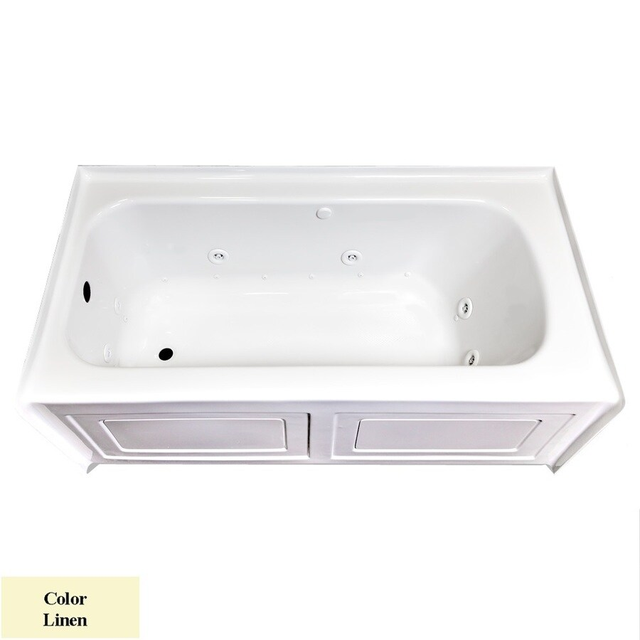 Laurel Mountain Fairhaven VI 72-in L x 36-in W x 22.5-in H Linen Acrylic Rectangular Whirlpool Tub and Air Bath