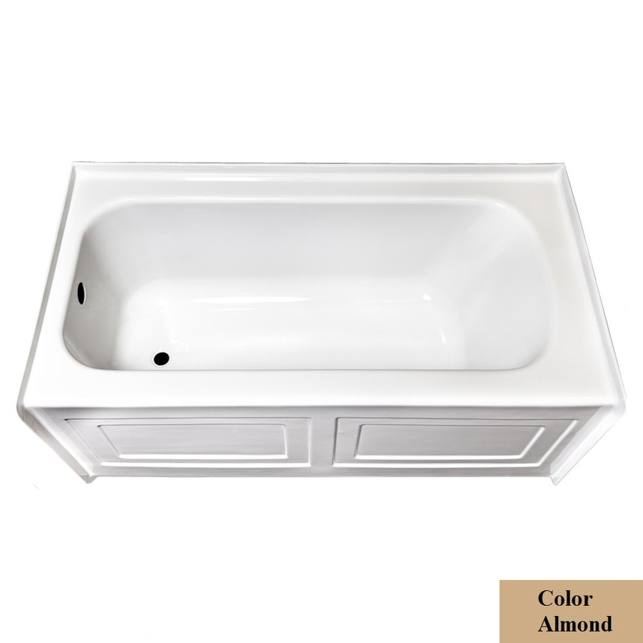 Laurel Mountain Fairhaven Vi Almond Acrylic Rectangular Skirted Bathtub with Left-Hand Drain (Common: 36-in x 72-in; Actual: 22.5-in x 36-in x 72-in
