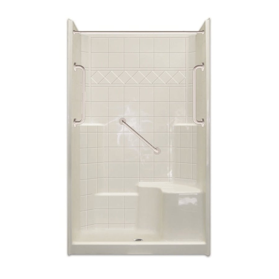 Laurel Mountain Spencer Low Threshold- Barrier Free White Acrylic Wall Acrylic Floor 3-Piece Alcove Shower Kit (Common: 36-in x 48-in; Actual: 79.5-in X