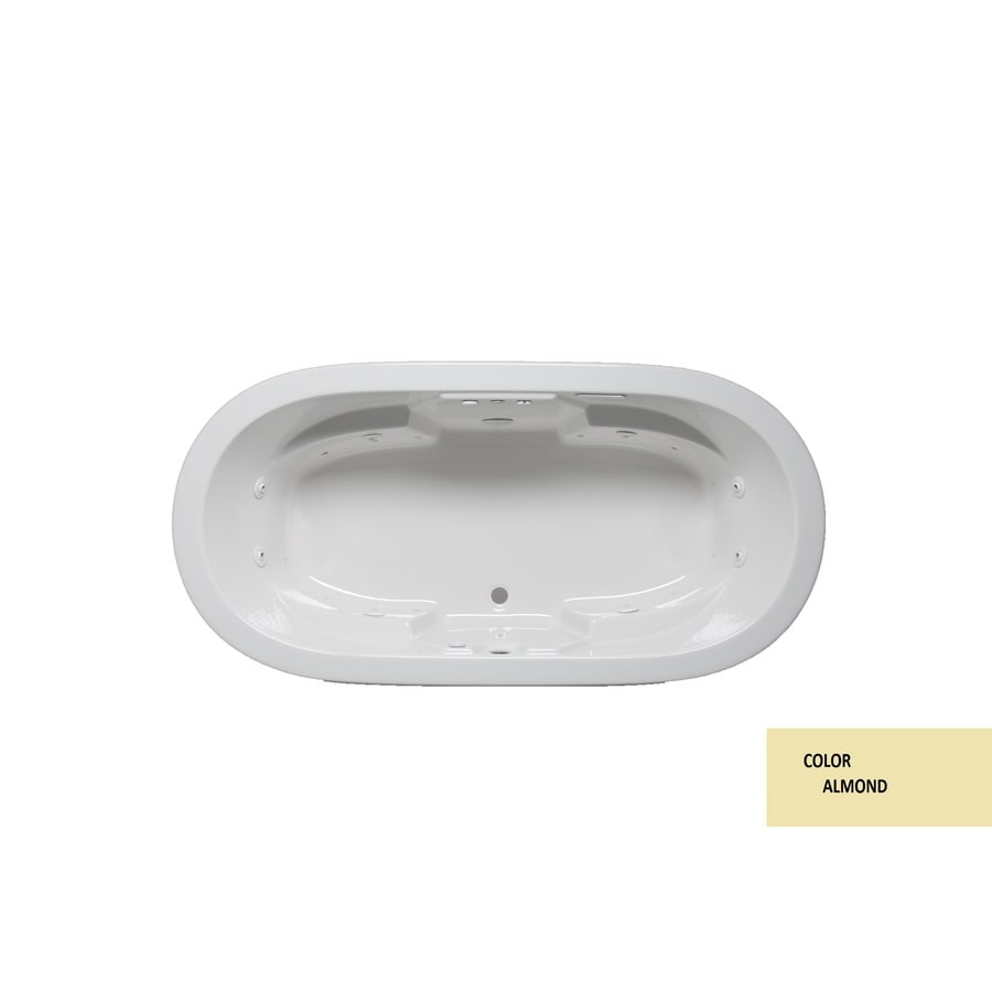Laurel Mountain Warren I 66-in L x 44-in W x 22-in H 2-Person Almond Acrylic Oval Whirlpool Tub and Air Bath