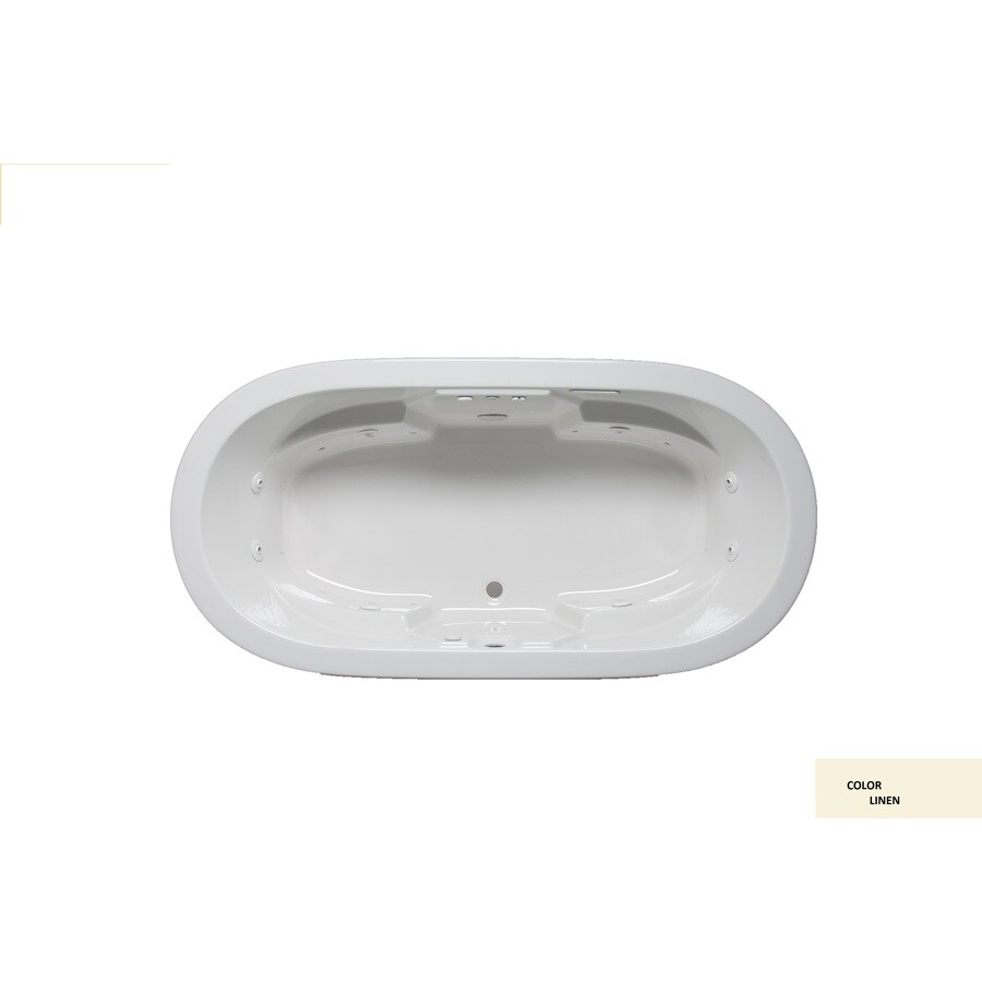 Laurel Mountain Warren I 66-in Linen Acrylic Drop-In Whirlpool Tub and Air Bath with Front Center Drain