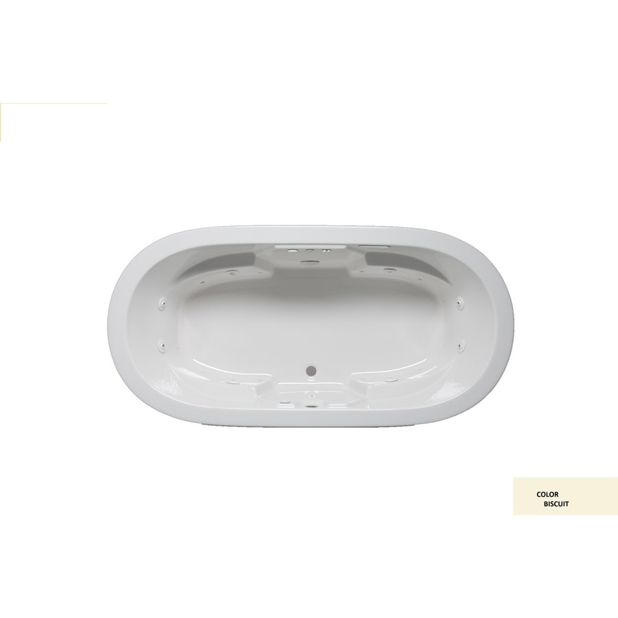 Laurel Mountain Warren Iii Biscuit Acrylic Oval Drop-in Bathtub with Front Center Drain (Common: 44-in x 75-in; Actual: 22-in x 44-in x 74-in