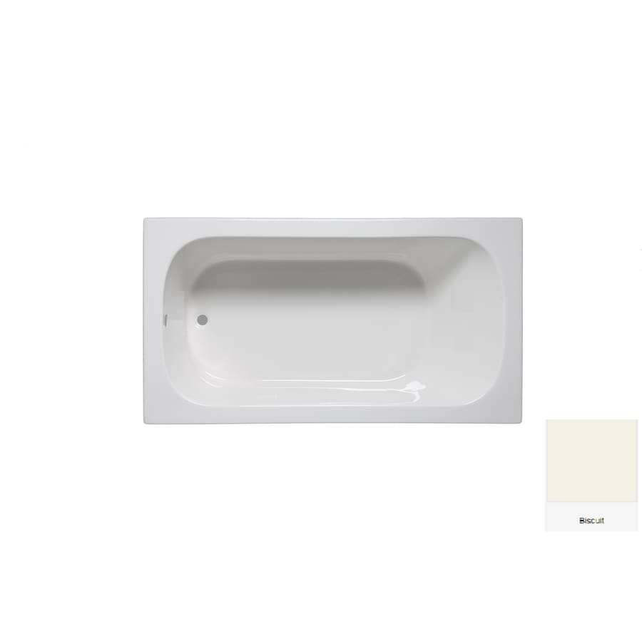 Laurel Mountain Butler V 60-in Biscuit Acrylic Drop-In Air Bath with Reversible Drain