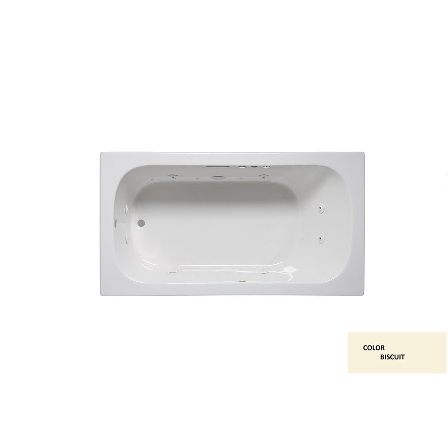 Laurel Mountain Butler VI 72-in Biscuit Acrylic Drop-In Air Bath with Reversible Drain