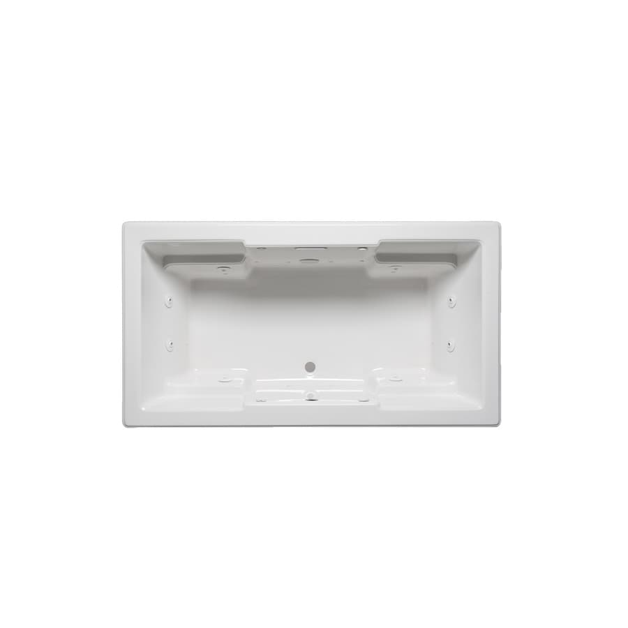 Laurel Mountain Reading II 66-in White Acrylic Drop-In Whirlpool Tub with Front Center Drain