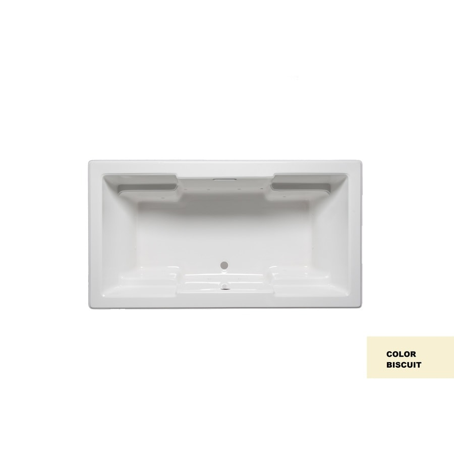 Laurel Mountain Reading III 72-in Biscuit Acrylic Drop-In Air Bath with Front Center Drain