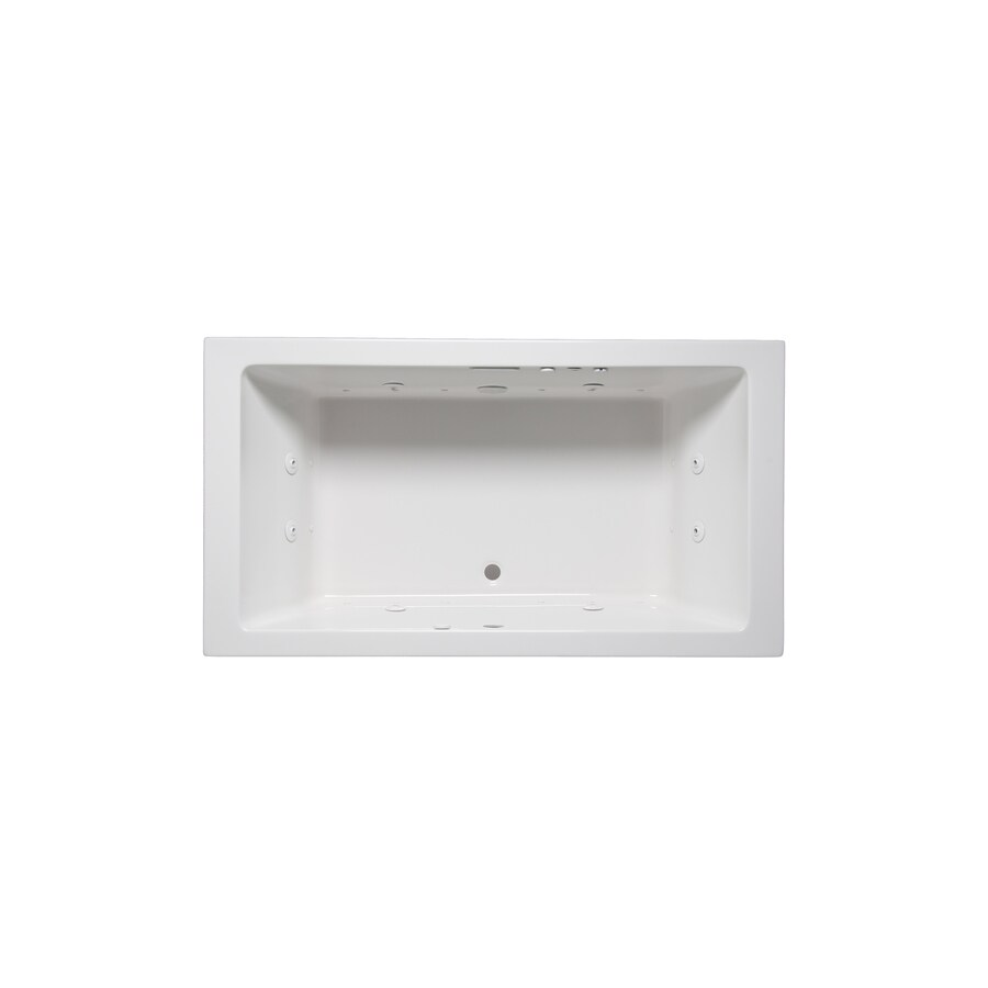 Laurel Mountain Farrell IV 72-in White Acrylic Drop-In Bathtub with Front Center Drain