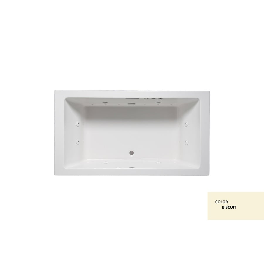 Laurel Mountain Farrell Iv Biscuit Acrylic Rectangular Drop-in Bathtub with Front Center Drain (Common: 32-in x 72-in; Actual: 22-in x 32-in x 72-in