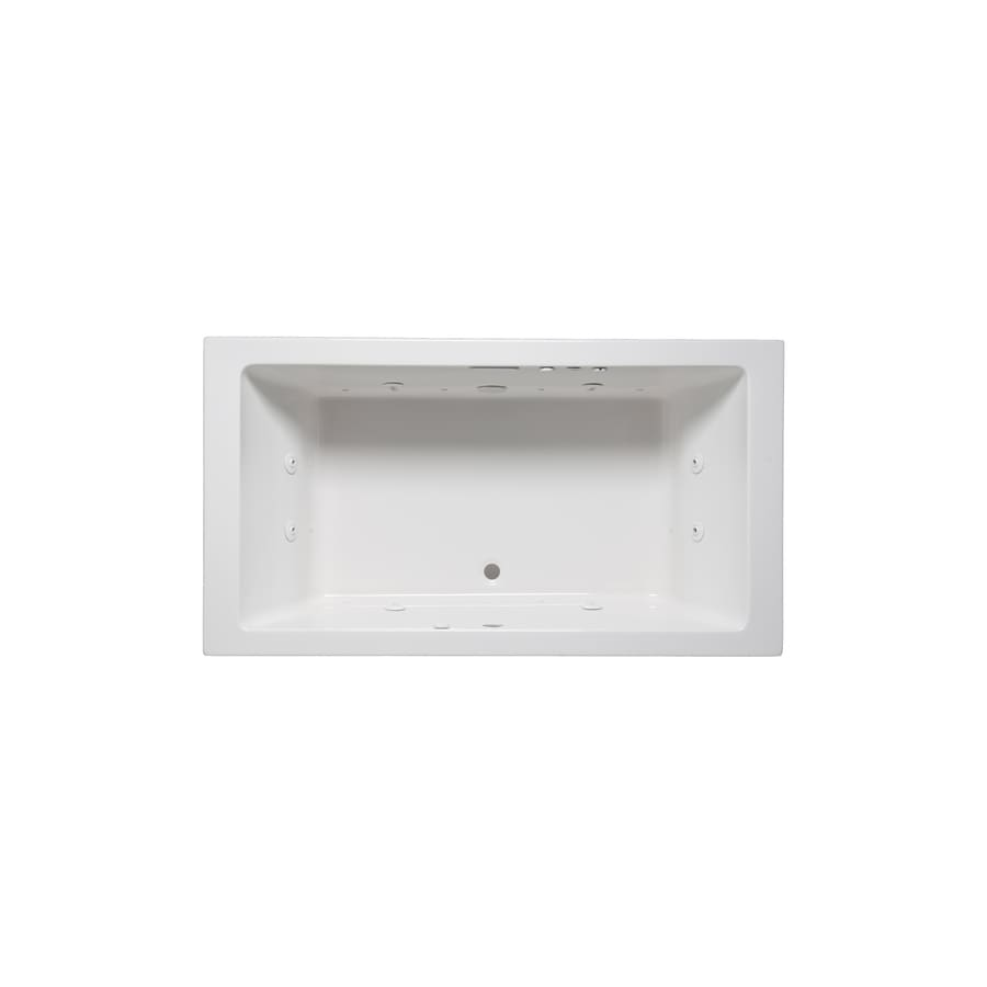 Laurel Mountain Farrell V 72-in L x 40-in W x 22-in H 2-Person White Acrylic Rectangular Whirlpool Tub and Air Bath