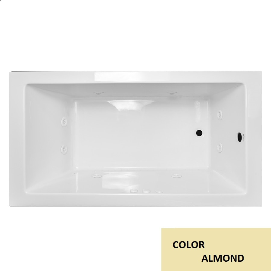 Laurel Mountain Parker VIII 72-in Almond Acrylic Drop-In Whirlpool Tub with Reversible Drain