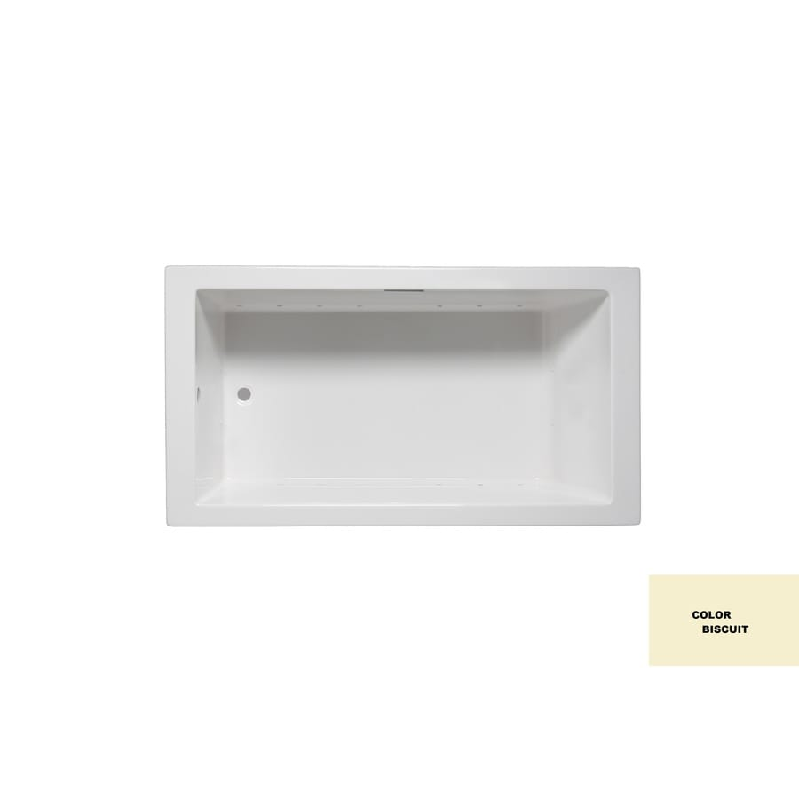 Laurel Mountain Parker Viii Biscuit Acrylic Rectangular Drop-in Bathtub with Reversible Drain (Common: 40-in x 72-in; Actual: 22-in x 40-in x 72-in