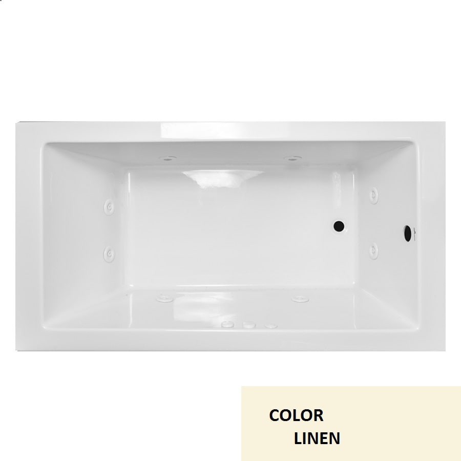 Laurel Mountain Parker Viii Linen Acrylic Rectangular Drop-in Bathtub with Reversible Drain (Common: 40-in x 72-in; Actual: 22-in x 40-in x 72-in