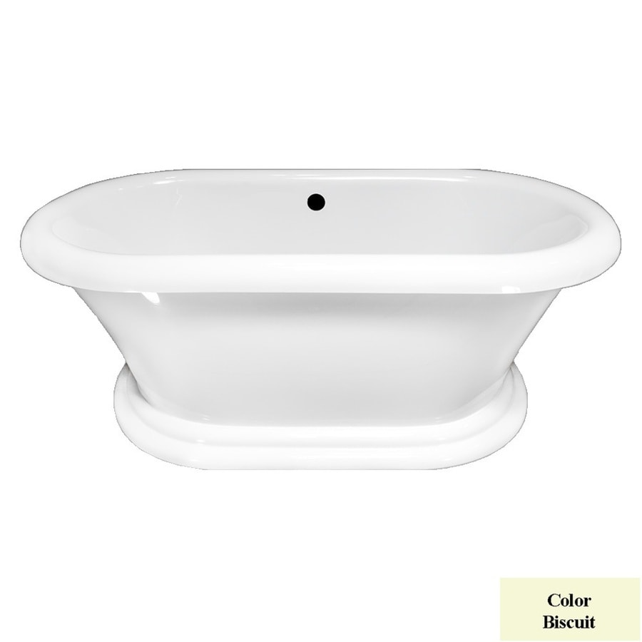 Laurel Mountain Sunbury I Biscuit Acrylic Oval Freestanding Bathtub with Center Drain (Common: 35-in x 66-in; Actual: 25-in x 35-in x 66-in