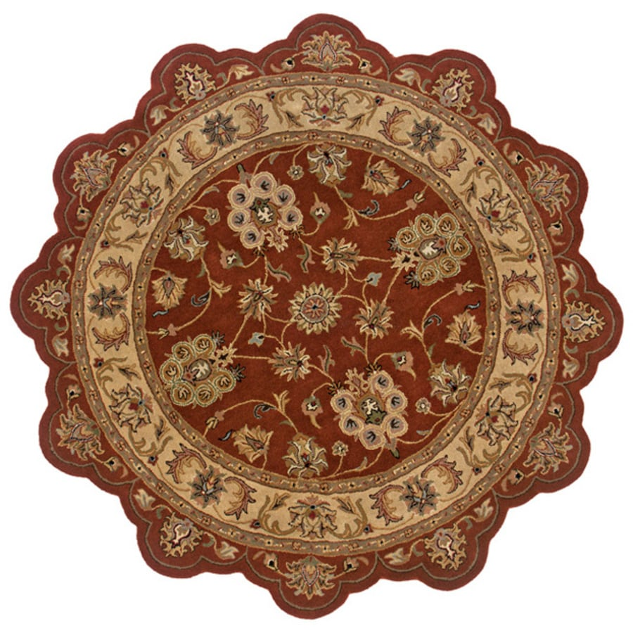 L.R. Resources Splendor Red Round Indoor Tufted Area Rug