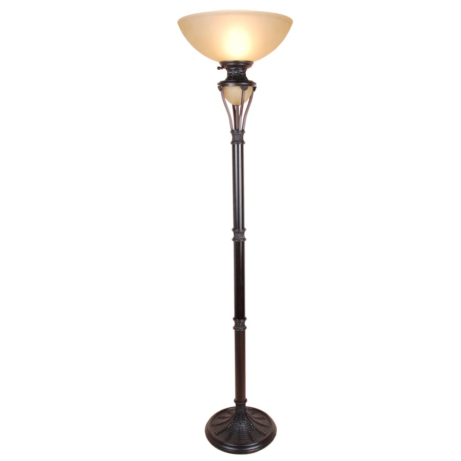 shop allen roth 73 in bronze standard torchiere indoor floor lamp with glas. Black Bedroom Furniture Sets. Home Design Ideas