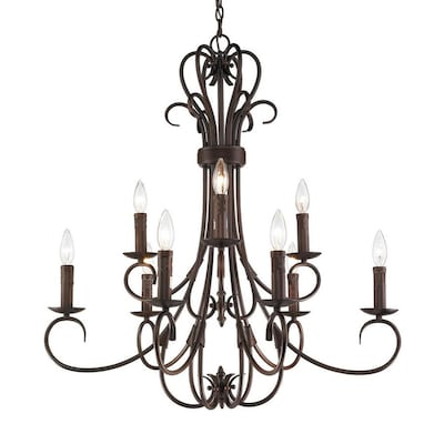 Golden Lighting Homestead 9 Light Rubbed Bronze Traditional