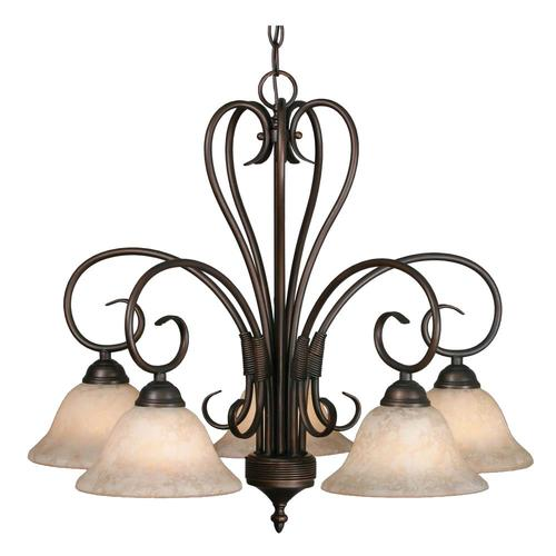 Golden Lighting Homestead 5 Light Rubbed Bronze Traditional Chandelier In The Chandeliers Department At Lowes Com