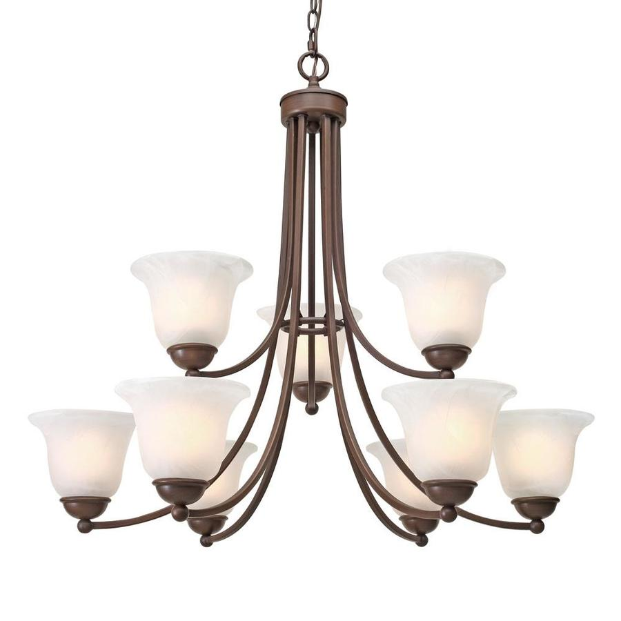 Collette 10.78-in 9-Light Rubbed Bronze Marbleized Glass Candle Chandelier