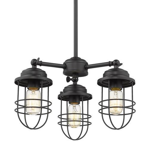 Golden Lighting Seaport 3-Light Black Transitional Linear ...
